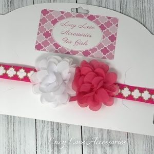 Handmade hot pink & white headband. Made to fit.